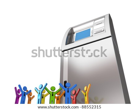 Huge ATM and colorful 3d small people.Isolated on white.3d rendered. - stock photo