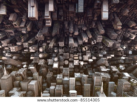 huge bended city - stock photo