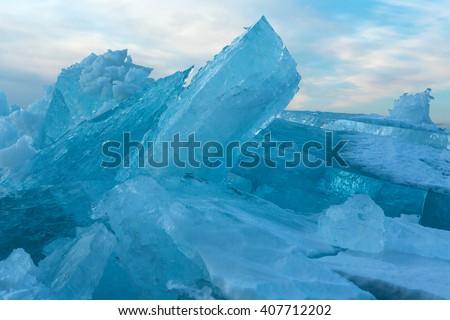 Huge blocks of ice. - stock photo