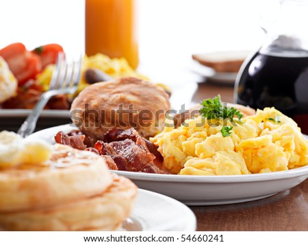 huge breakfast - stock photo
