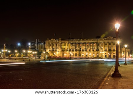 Huge building on the Place de la Concorde in Paris at midnight