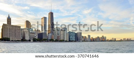 Huge Chicago coastal area panorama - stock photo