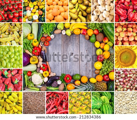 Huge collage of various healthy Fruit and Vegetables - stock photo