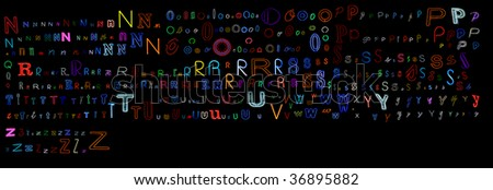 huge collection of a very large number of neon letters all isolated on black - letters N to Z - part one of a two part series. - stock photo