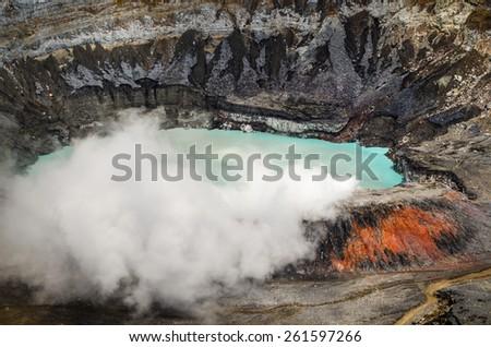 Huge crater of the Poas Volcano, Costa Rica - stock photo