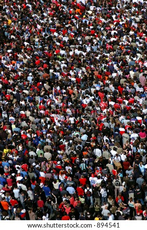 Huge crowd of ice hockey fans celebrating the victory of the Czech ice hockey team in Prague - stock photo