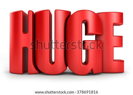 Huge 3d text in red letters isolated over white background