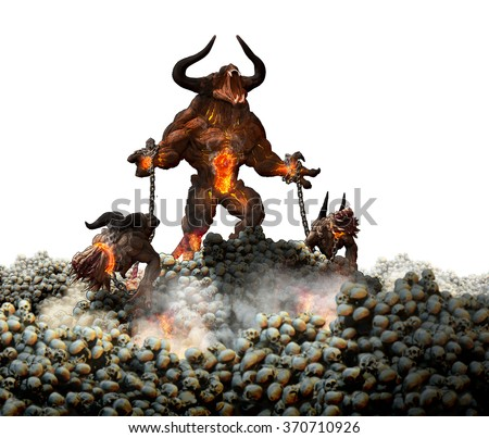 Huge demon monster holding two hell hounds in a field of skulls. - stock photo