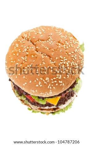 huge double tasty cheeseburger isolated on white background