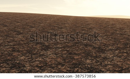 Huge Drought Plain Global Warming and Climate Change 3D Illustration - stock photo