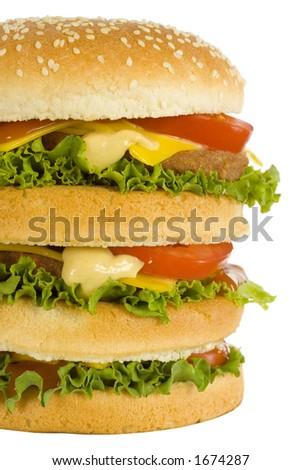 huge hamburger - closeup front view - stock photo