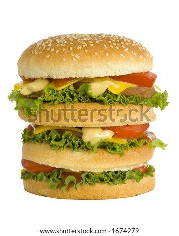 huge hamburger - front view - stock photo