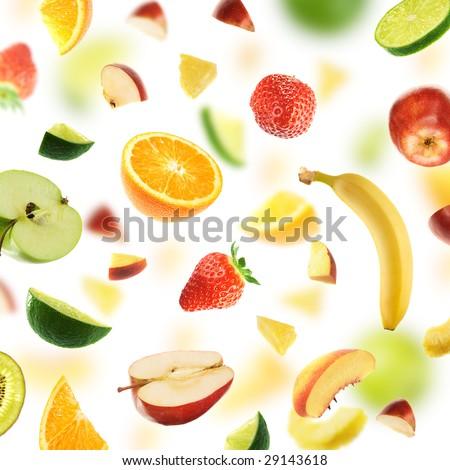 Huge healthy fruit explosion - stock photo
