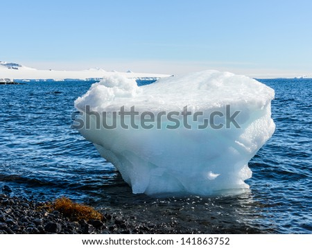 huge ice peace on the shore