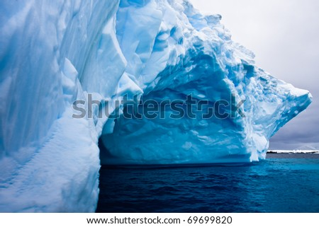 Huge iceberg in Antarctica, beautiful winter background