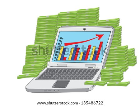 huge income: laptop in front of heap of money - stock photo