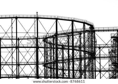 Huge industrial natural gas storage tank - stock photo