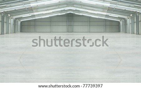 Huge light warehouse - stock photo
