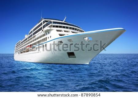 Huge luxury cruise ship - stock photo
