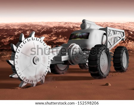 Huge Martian excavator exploiting resources on mars - stock photo