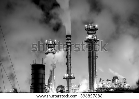 huge petrochemical plant in spain. good image for climate issues and pollution, energy and power - stock photo