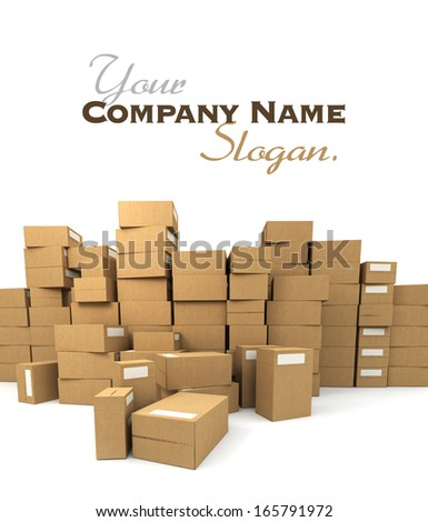 Huge pile of cardboard boxes - stock photo