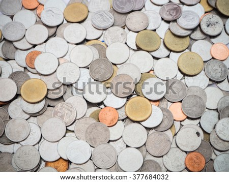 Huge pile of Thai Baht money coins - stock photo