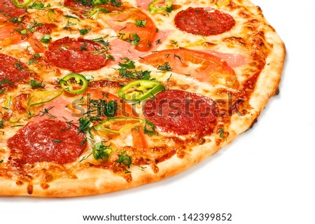Huge pizza close up on a white background - stock photo