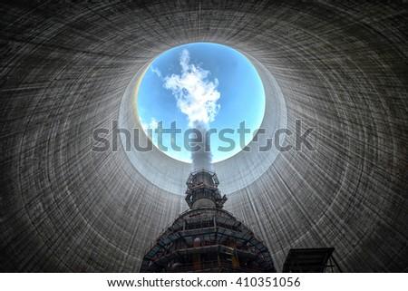 Huge Power plant producing heat - stock photo