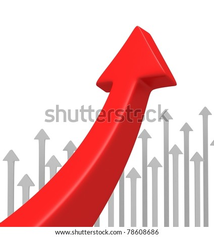 Huge Red Arrow with Little White Arrows - stock photo