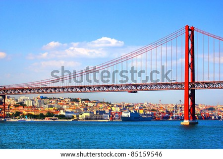 Huge road and rail bridge in Lisbon, Portugal - stock photo