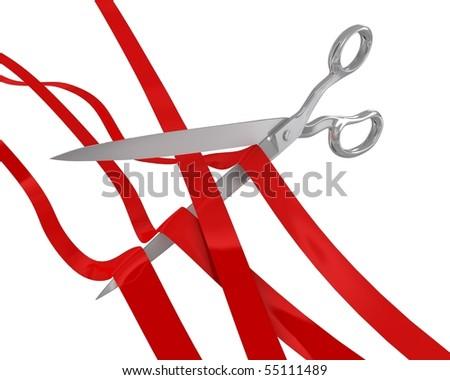 Huge scissors cut many ribbons - stock photo