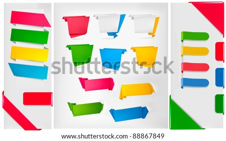 Huge set of colorful origami paper banners. Raster version of vector. - stock photo