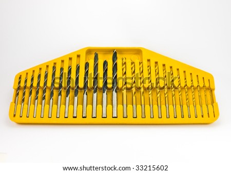 Huge set of drill bits on white background