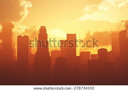 Huge Smoggy Metropolis in the Sunset Sunrise 3D artwork illustration - stock photo