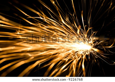 Huge sparks flowing - stock photo
