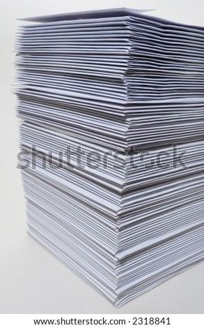 Huge stack of envelopes/letters on white background. Some barrel distortion. - stock photo