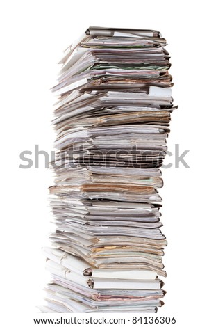 Huge stack of papers isolated on white - stock photo