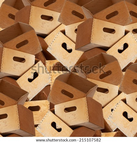 huge stack of wooden containers for holding file folders background - stock photo