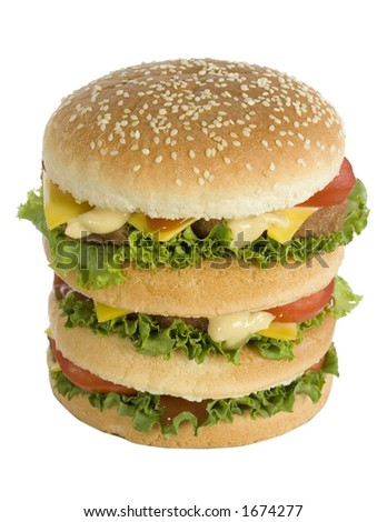 huge tasty burger - front/up view - stock photo