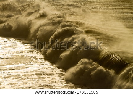 huge wave in atlantic ocean - stock photo