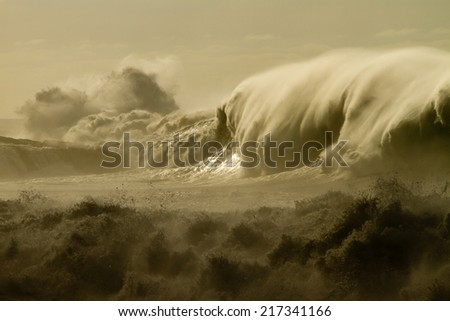 huge waves (La Palma) - stock photo