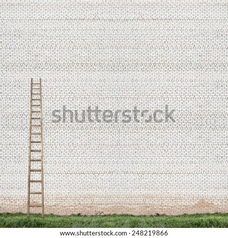 huge white brick wall with a wooden ladder and green grass background - stock photo