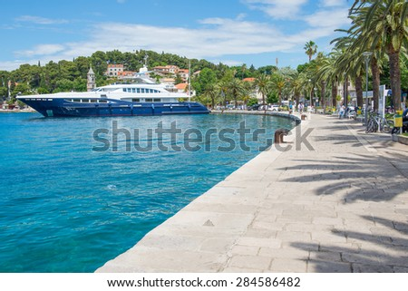 Huge yacht at the harbor in Croatia. - stock photo