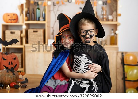 Hugging brother and sister in Halloween costumes  sc 1 st  Shutterstock & Hugging Brother Sister Halloween Costumes Stock Photo (Royalty Free ...