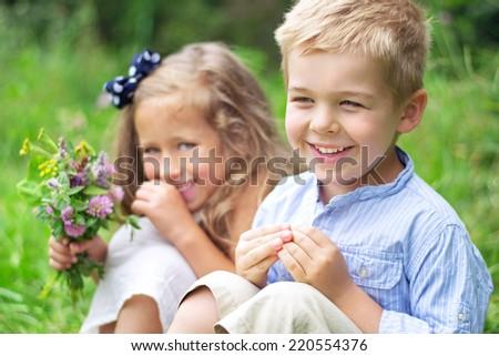 Hugging kids - stock photo