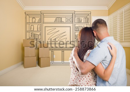 Hugging Military Couple In Empty Room with Shelf Design Drawing on Wall. - stock photo
