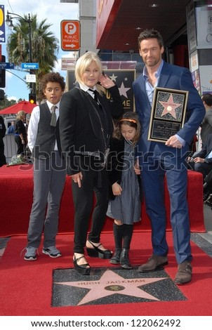 Hugh Jackman and Deborra-Lee Furness at the Hugh Jackman Star on the Hollywood Walk of Fame Ceremony, Hollywood, CA 12-13-12 - stock photo