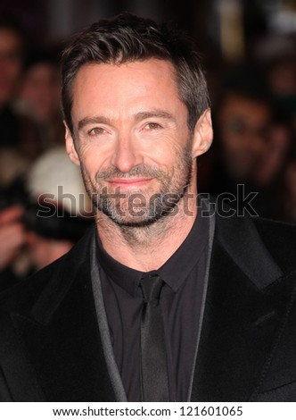 Hugh Jackman arriving for the premiere of 'Les Miserables' at Leicester Square, London. 05/12/2012 Picture by: Alexandra Glen