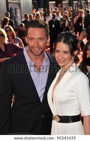 """Hugh Jackman & Evangeline Lilly at the Los Angeles premiere of their new movie """"Real Steel"""" at Universal Studios Hollywood. October 2, 2011  Los Angeles, CA Picture: Paul Smith / Featureflash - stock photo"""